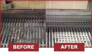 BBQ cleaning service before and after image.